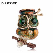Blucome Big Green Eyes Owl Brooch Antique gold Color Animal Bird Pins Dress Clothing Accessories Collar Clip Dress Decor Female(China)