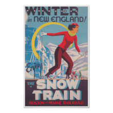 New England Ski Poster, Snow Train Trip Travel Retro Vintage Poster Decorative DIY Wall Art Home Bar Posters Decor