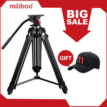 miliboo MTT601A Aluminum Heavy Duty Fluid Head Camera Tripod for Camcorder/DSLR Stand Professional Video Tripod(China)