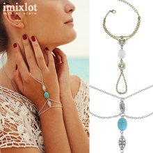 Fashion Celebrity Multi Chain Tassel Natural Stone Bracelet Bangle Slave Finger Chain Hand Harness Women Chain Jewelry Gifts