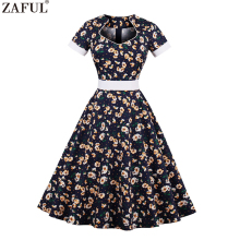 ZAFUL Plus Size Cotton Women Summer 60s Vintage Dress Daisy Floral Print Elegant Pattern Belts Feminino Vestidos Party Dresses(China)