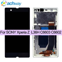"For SONY Xperia Z L36H L36i C6606 C6603 C6602 C6601 Display Touch Screen Digitizer Assembly Replacement 5.0"" For Sony L36h lcd(China)"
