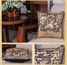 45*45cm Vintage Chinese Handmade Silk Black&Golden Embroiderd Pillow Case Cushion Covers