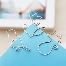 5PCS/SET Lazy Cat/Bird/Rose Metal Bookmark Paper Clips Cute Cartoon Animal Plated Slivery Bookmarks Stationery Gift