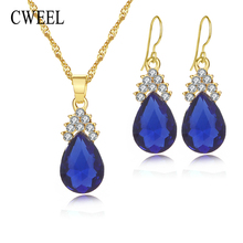 CWEEL Jewelry Sets for Women Wedding Statement Necklace Earrings Bridal African Beads Party Jewellery Engagement Accessories(China)