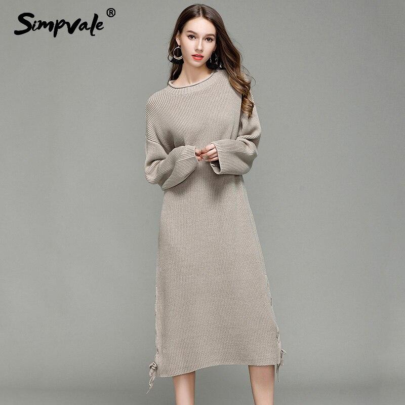 Autumn Winter Loose Knitted Dress Women Home Street Solid Color Thick Long Sweater Female Brief Bottoming Dress Mid-Calf LengthÎäåæäà è àêñåññóàðû<br><br>