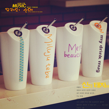 Creative Ceramic Coffee Milk Cups Personality Simple Couples Large Capacity with Straws Mugs Sdult Drink Cups