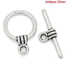 DoreenBeads 15Sets Tibetan Silver Toggle Clasps  Ring 11*15mm 2015 new