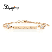 DUOYING Crystal Bracelet Custom Engraved Name Personalized Initial Bracelet With Zirconic Bracelet For Women eBay Etsy Supplier