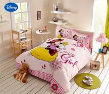 Minnie Mouse Comforter Sets Cartoon Disney Bedding Textile Girl's Bedroom Decor Single Twin Queen Pink Sanding Cotton Warm Soft