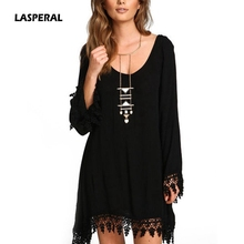 LASPERAL Women Casual Loose Long Sleeve Black Tassel Party Dress Vestidos Summer Boho Style O Neck Beach Sundress Plus Size 5XL(China)