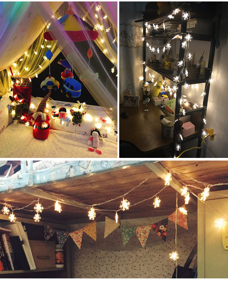10M 100Leds 2V Christmas Tree Snow Flakes Led String Fairy Light Xmas Party Home Wedding Garden Garland Christmas Decorations 9