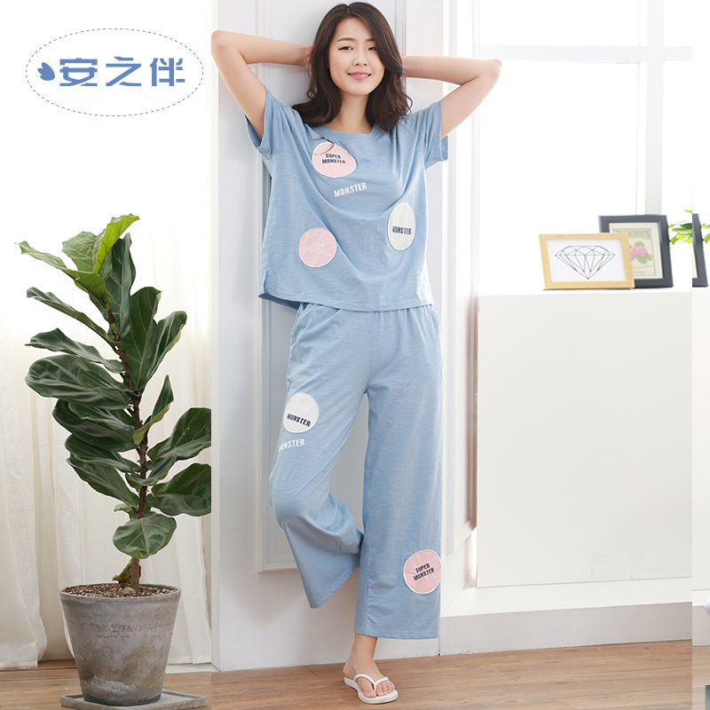 Anzhiban 2017 Summer Women Pajamas Sets Short-Sleeved Sleepwear Suit Cotton Pants Casual Female Home Nightgown Fashion Pyjamas(China)