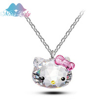 Miss Lady Silver color Korea KT Crystal Cute hello kitty bow Cat Necklaces  Pendants Fashion Jewelry for women Q2017227