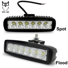 2pcs Cheap Car Auto parts led driving lights off road 6 inch 18w flood spot auto roof driving fog lamp for 4x4 offroad(China)