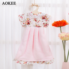 AOKEE Cute Hand Towels Coral Fleece Hanging Wipe Dress Restaurant Kitchen Princess Skirt Hand Towels 25*30cm with hanger