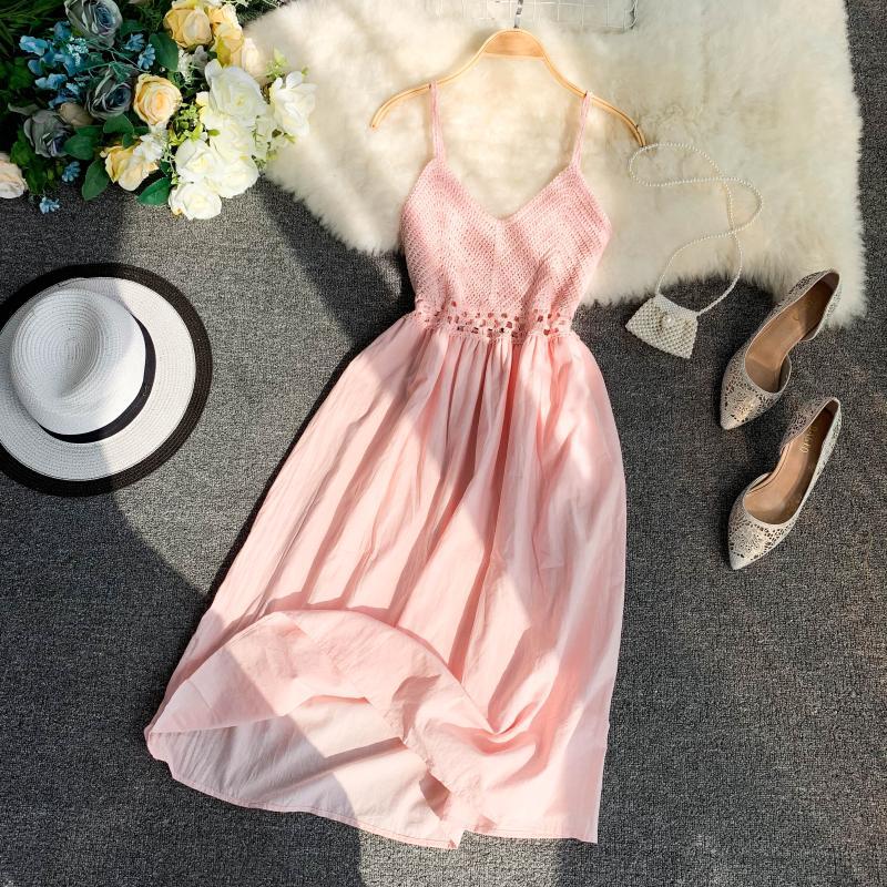 19 new fashion women's dresses Fresh openwork knit stitching V-neck strap high waist dress 10
