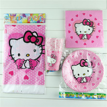 41 pcs/lot paper plate cups napkin for 10 people use kids boy hello kitty happy birthday pary decoration supplies favor festival