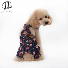 *2017 SuperDeals  Small Dog Clothes Pet Denim Overalls Rose Print Romantic Fashion Dog Jumpsuits & Rompers Pants Work Fine