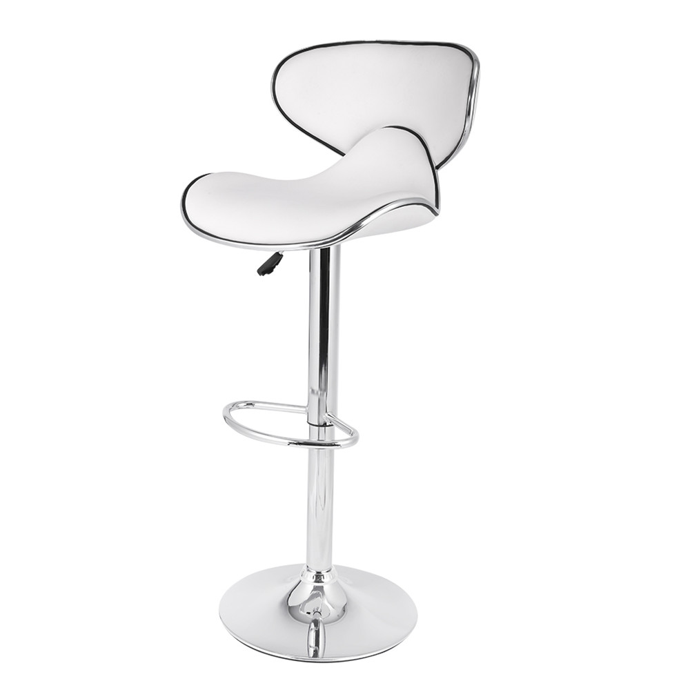 LANGRIA Set of 2 Gas Lift Height Adjustable Swivel Faux Leather Wrap-Around Bar Stools Chairs with Chromed Base and Footrest 19