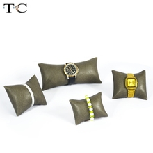 Coffee PU Leatherette Jewelry Display Watch Holder Bracelet&Bangle Pillow Watch Box Pillow High Quality