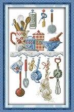 Кухонные принадлежности вышивки крестом комплект мультфильм Кухня DMC цвет нити 14ct 11ct канва для вышивания DIY ручной рукоделие плюс(China)