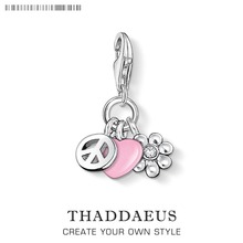 Peace, Love, Flowers Pendant Charms Fit Thomas Ckey Chain Car Chain Necklace Bracelets For Women & Men  Free Shipping