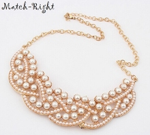 Match-Right Hot Pendant Necklace Women Simulated Pearl Jewelry Trends Statement Collar Necklaces Pearl Pendants For Gift Party(China)