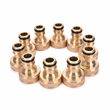 "3/4"" Threaded Brass Tap Adaptor Garden Water Hose Pipe 2 Pcs Connector Fitting Garden Water Connectors(China)"
