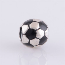 Authentic 925 Sterling Silver Soccer Ball Sports Bead with Black Enamel Charm Bead Fits Original Brand Charm Bracelet Jewelry