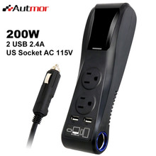 200W Car Charger Adapter Power Inverter Dual USB 4.8A With Car Cigarette Lighter Socket & Dual AC Outlets(China)