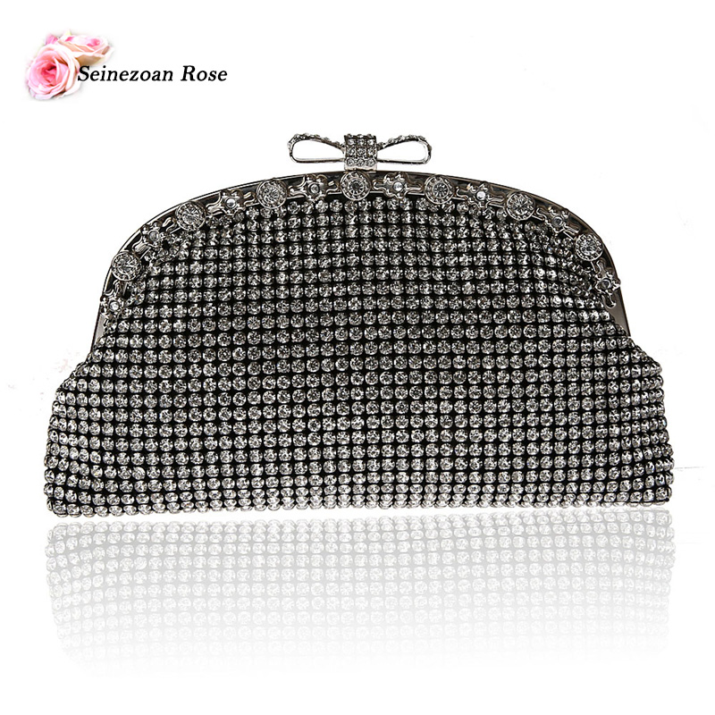 2017 Luxury Women Rhinestone Bow Small Handbags Evening Party Hobos Bags Ladies Designer Purses Crossbody Bags Black Silver Gold<br><br>Aliexpress