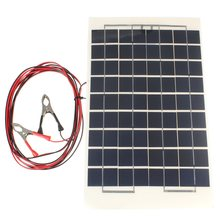 12V 10W PolyCrystalline Transparent Epoxy Resin Cells Solar Panel DIY Module Set with Block Diode+2 Alligator Clips+4m Cable Pro