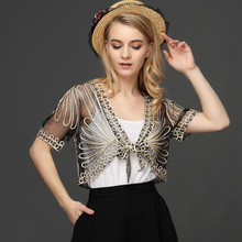 Summer Thin Short Sleeve Handmade Crochet Lace Mesh Shrug Bolero Women Embroidery Cardigan Feminino Short Cape Oversized Tops(China)