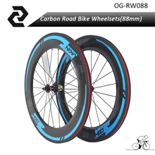 OG-EVKIN 88mm 700C Road Bicycle Carbon Wheels Clincher Carbon Wheelsets 3K A291SB Front/F482SB Rear