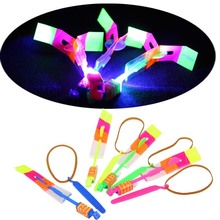 10Pcs/lot Children Toy LED Flier Flyer LED Flying Amazing arrow helicopter Flying Umbrella Kids toys