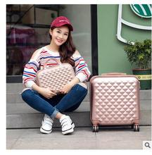 "Luxury Brand 18"" Women Travel Luggage Suitcase with 14"" Cosmetic Case Spinner Travel Case rolling luggage Bag With wheels"