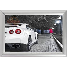 Silver Color Aluminum Alloy Picture Frame Home Decor Custom Canvas Frame GTR Car Auto Canvas Poster Frame F170112#154(China)