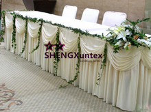 Free Shipping Ivory Color Ice Silk Table Skirt Include Swag Drape(China)