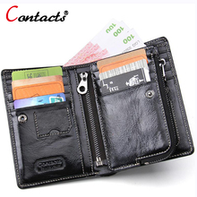 CONTACT'S genuine leather wallet designer men Zipper wallet Bifold coin purse card holder purse short high quality visiting card(China)