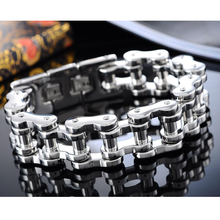FUNIQUE 2016 Stainless Steel Bracelet Men HEAVY Thick Bicycle Chain Bracelet Bike Bangle Silver Tone 23.5cm Punk Rock Jewelry
