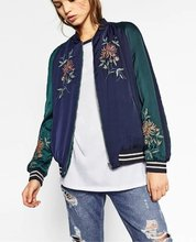 Winter Runway Double Sided Flower Embroidered Navy Blue Padded Jacket Veste Femme Manche Longue Bomber Satin Jacket Women Coat