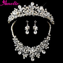 2 Set/ Lot Free Shipping Dramatic Crystal & Ivory Pearl Bridal Necklace & Earring Set with Matching Tiara
