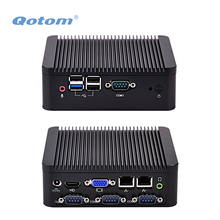 QOTOM Quad core Mini PC with DDR3 RAM and MSATA SSD, 2 LAN, 4 USB, 4 COM, fanless Mini PC bay trail j1900