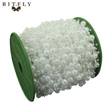 5 Meters Fishing Line Artificial Pearls Beads Chain Garland Flowers Wedding Party Decoration Products Supply Beige/White