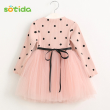Sotida Girls Dress 2016 Fashion New Winter Girls Dresses Long-sleeve Dot Mesh Design Kids Princess Dress Children Girls Clothes