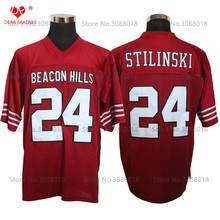 Cheap Shirt for Mens American Football Jerseys #24 Stiles Stilinski TEEN WOLF TV Series Throwback Jerseys Retro Red Stitched(China)