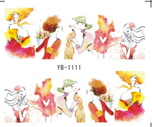 Nail Sticker Water Transfers Stickers Nail Decals SKETCH GIRL URBAN LADY FASHION SHOW OIL PAINTING YB1111-1116(China)