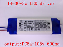 2pieces High quality led driver 50w 60w 18-30*3w input AC85-277V output DC54-105V 600MA apply for led ceiling lamp down lamp