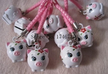 Free Shipping 20 pcs Cute Cartoon Pig key chains Pendant Cell Phone Charm Straps with Bell Cartoon For Gift FC-23(China)
